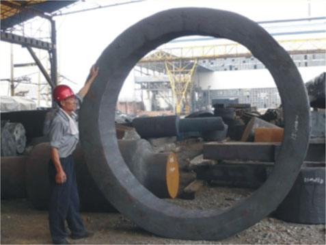 Big rings forged by large size open die hydraulic forging press