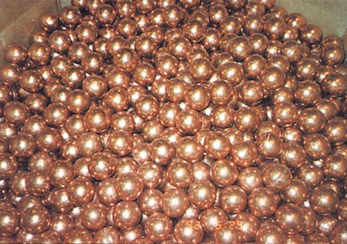 copper balls rolled on rolling ball making machine