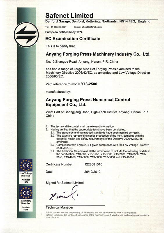 CE Certificate of Open die hydraulic forging press