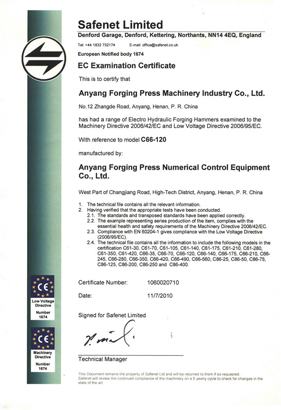 CE Certificate of Electro hydraulic forging hammer