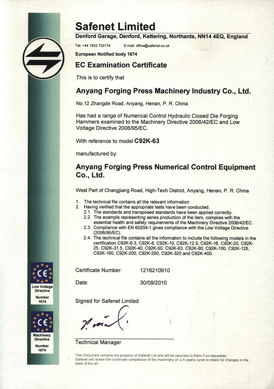 CE Certificate of CNC fully hydraulic die forging hammer