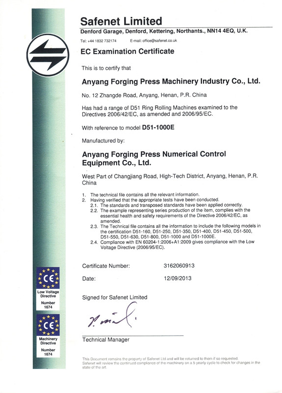 CE Certificate of Ring rolling machine